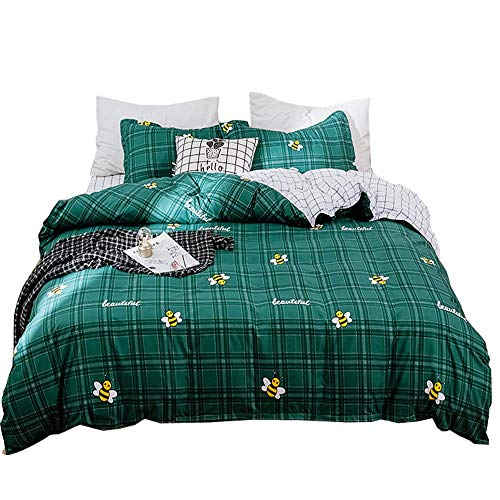Loussiesd Bee Print Duvet Cover Set Double Size for Kids Pastoral Bedding Set Honeybee Comforter Cover with 2 Pillow Shams Dark Green Lattice Bedspread Cover Breathable Microfiber Zipper 3 Pcs