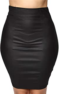 SIGHTBOMB Stretchable Leather Look Pencil Skirt for Women