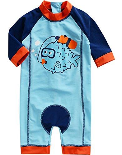[Vaenait Baby] 0-24ヶ月UVカット ラッシュガードベービー子供男の子長袖ワンピース水着 Baby Diver L