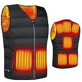 2020最新型 電熱ベスト ヒートベスト 加熱ベスト ヒートジャケット 加熱服 ダウンジャケット 8つの発熱エリア 3段階温度調整 電熱ウェア 超軽量 防寒ベストョッキ保暖服 男女兼用 (black, size-XL)
