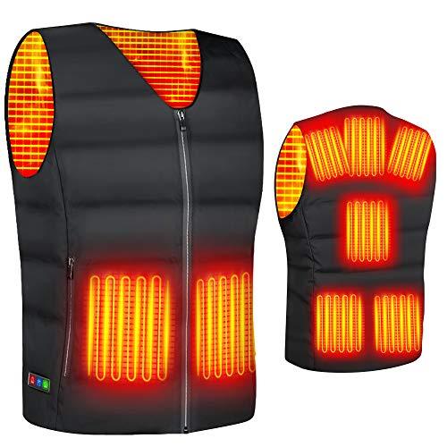 2020最新型 電熱ベスト ヒートベスト 加熱ベスト ヒートジャケット 加熱服 ダウンジャケット 8つの発熱エリア 3段階温度調整 電熱ウェア 超軽量 防寒ベストョッキ保暖服 男女兼用 (black, size-L)