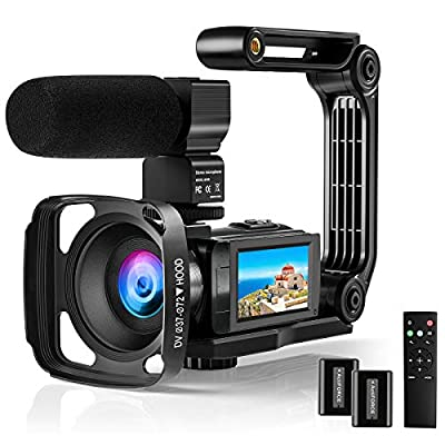 4K Video Camera Camcorder FHD 48MP 60FPS Camera Recorder WiFi YouTube Vlogging Camera Rotatable IPS Touch Sreen IR Night Vision Digital Video Camera with Microphone, Remote, Stabilizer, Hood, Battery by Aasonida