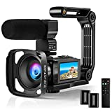 4K Video Camera Camcorder FHD 48MP 60FPS Camera Recorder WiFi YouTube Vlogging Camera Rotatable IPS Touch Sreen IR Night Vision Digital Video Camera with Microphone, Remote, Stabilizer, Hood, Battery