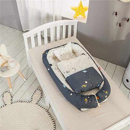 HLSUSAN Winter Warm Baby Lounger Newborn Sleeping Lounger with Pillows and Quilts Cotton Breathable Portable Multifunctional Baby Nest Pod Travel Cot Bionic Bed 0-24 Months,H