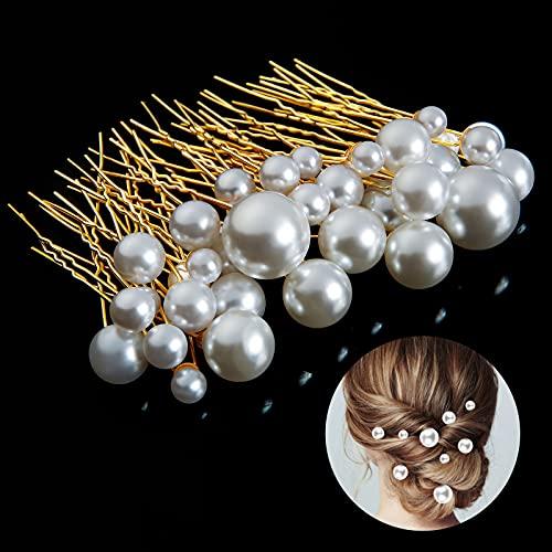 Hochzeit Haarnadeln, Taumie 36 Stück Hochzeit Braut Haarschmuck, Perlen U-förmig Haarnadel Strass, Brautperlen Haarnadeln Haarschmuck, für Brautfrisur und Brautjungfernfrisur (Golden)