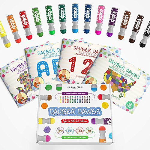 Washable Dot Markers 13 Pack With 121 Activity Sheets For Kids, Gift Set With Toddler Art Activities, Preschool Children Arts Crafts Supplies Kit, Special Holiday Bingo Dabbers Dobbers, Dauber Dawgs