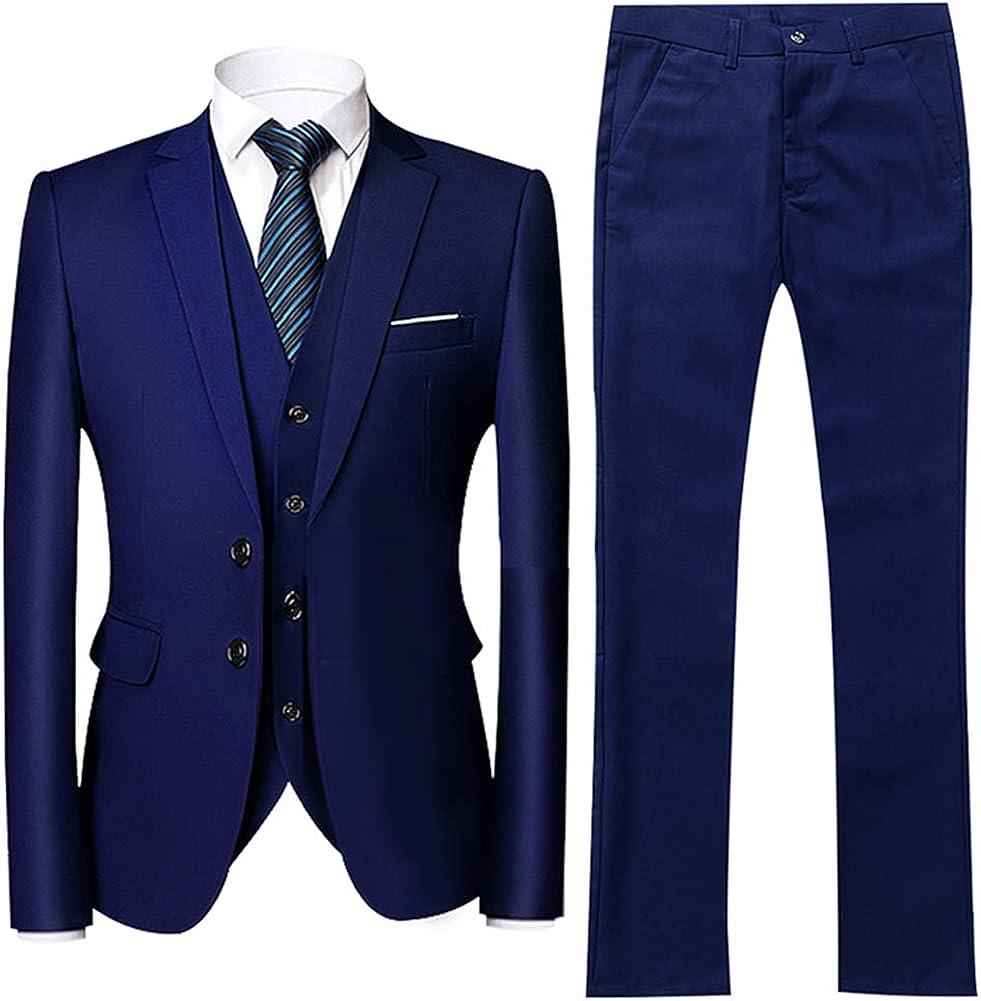 YFFUSHI Men's 3-Piece Suit 2 Cheap bargain Factory outlet Buttons Solid Slim Color Jacket Fit