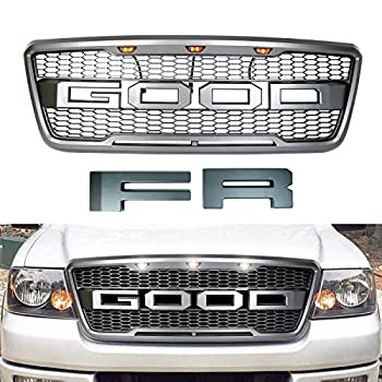 Front Grill Hood Grille is compatible with Ford F150 Raptor Style 2004 2005 2006 2007 2008 including Replaceable Letters fr Letters and 3 Amber Led Lights  Matte Black