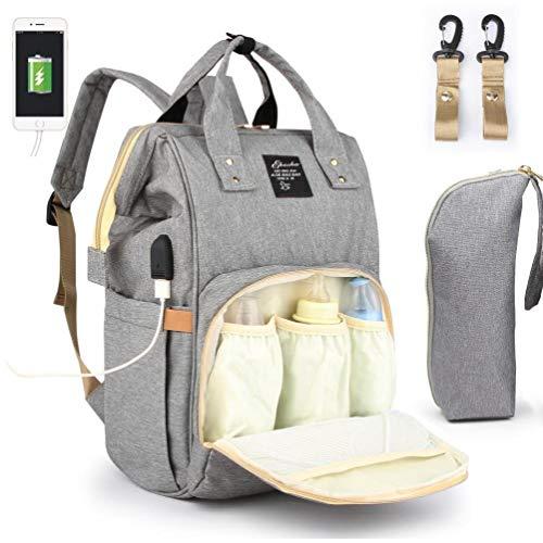 Hotaden Viajes multifunción Mochila Maternidad bebé Cambiar Las Bolsas, de Gran Capacidad, Impermeable y con Estilo, Gris