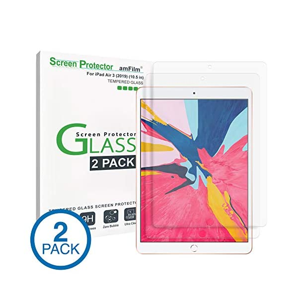 amFilm Glass Screen Protector for iPad Air 3 (2 Pack) (2019) 10.5 inch, iPad Pro...