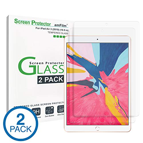 iPad Pro 10.5 inch Screen Protector Glass (2-Pack), amFilm Tempered Glass Screen Protector for Apple iPad Pro 10.5' 2017 with Camera Hole 0.33mm 2.5D Rounded Edge (2-Pack)