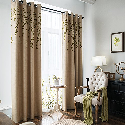 Melodieux Flower Embroidery Faux Linen Blackout Curtains for Living Room Bedroom Noise-Free Grommet Window Drape, Beige/Green, 52 by 84 Inch (1 Panel)