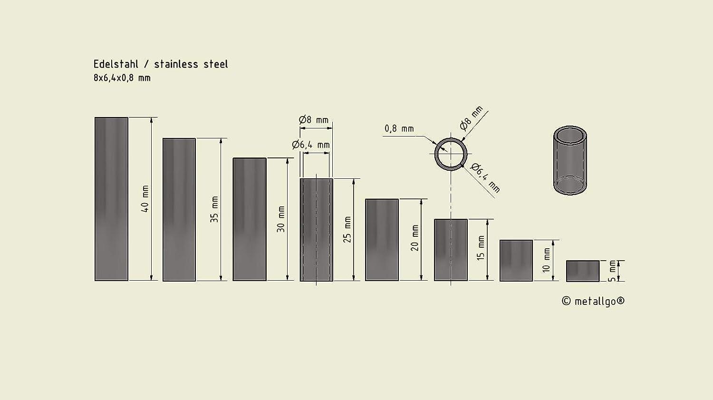 10 St/ück 8 x 6.4 x 0.8 mm Au/ßen x Innen x Wandst/ärke Edelstahl Distanzh/ülsen L/änge 5 mm M6 Schrauben beweglich durchsteckbar ohne Innengewinde Abstandsh/ülsen