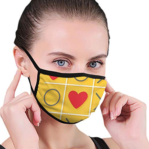 Earloop Safety Ma-sks,Tic-Tac-Toe Game With XOXO Design Let Me Kiss You Valentines Romantic Illustration,Anti Dust Half Face Mouth Ma-sk for Most people