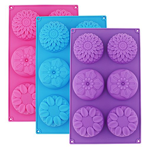 6-Cavity Silicone Flower Shape Soap Cake Molds for Handmade DIY Candy Chocolate Cup cake