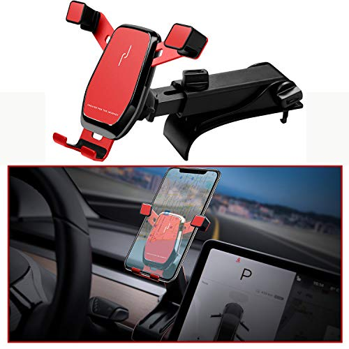 Gravity Phone Mount for Tesla Model 3, KFZMAN Model 3 Dashboard Clip Phone Holder with Extendable Bar and Adjustable Joint, Custom Fit with Tesla Model 3(Upgraded Version)