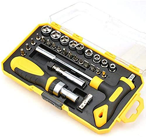 MRZJ Juego de 29 destornilladores de precisión de cromo vanadio (color: amarillo)