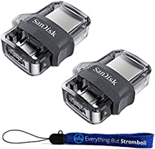 SanDisk Ultra 32GB (Two Pack Bundle) Dual Drive m3.0 (SDDD3-032G-G46) works with Android Devices and Computers Flash Drive with Everything But Stromboli (TM) Lanyard