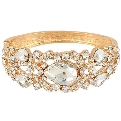 EVER FAITH Damen Österreichische Kristall Hochzeit Teardrop Armreif Armband Klar Gold-Ton