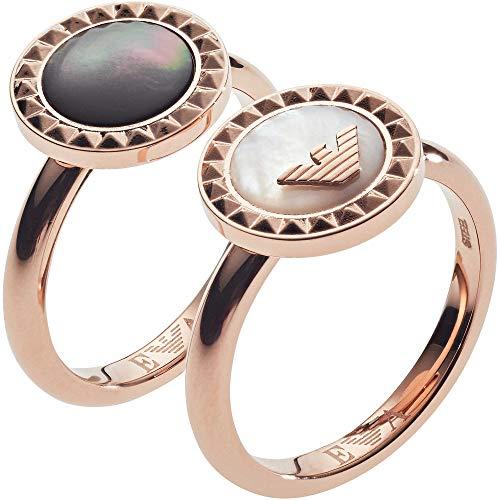 Emporio Armani Damen-Stapelring Edelstahl mit Rund Perlmutt '- Ringgröße 56 EGS2561221-8