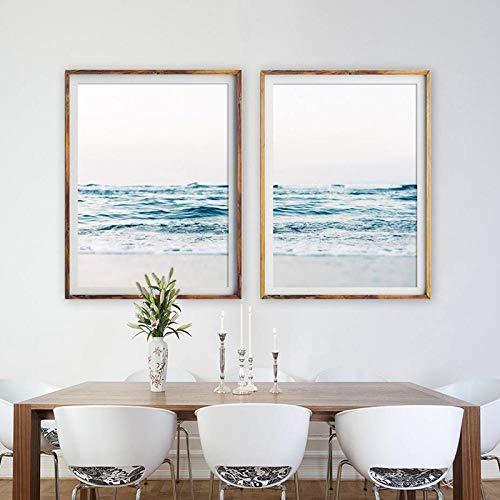 Juabc Art Canvas Painting para fotografía de Playa, Arte Decorativo sobre Lienzo costero, Imagen del mar, Olas del océano, Lienzo con Estampado de Playa 50x70cm Sin Marco