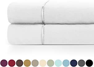 Zen Home Luxury Flat Sheet (2-Pack) - 1500 Series Luxury Brushed Microfiber w/ Bamboo Blend Treatment - Eco-friendly, Hypoallergenic and Wrinkle Resistant  - Queen - White