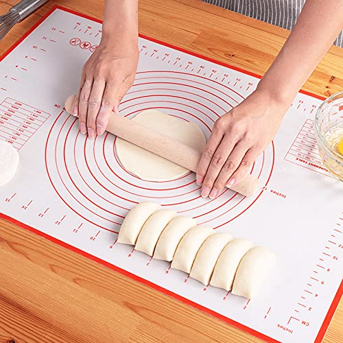"""Large Silicone Pastry Mat Non Stick Rolling Dough with Measurements-Non Slip,Reusable Large Silicone Baking Mat for Housewife(16"""" x 24"""")"""