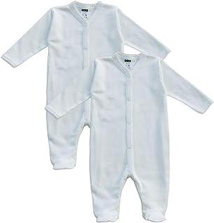 MEA BABY Unisex Baby Schlafstrampler aus 100% Bio-Baumwolle im 2er Pack. Schlafstrampler Weiß Creme, Schlafstrampler für Junge, Strampler für Mädchen.