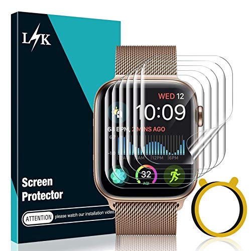 LϟK 6 Pack Screen Protector Compatible for Apple Watch 44mm Series 6 5 4 / Apple Watch SE 44mm with Circle Installation Tool,Full Coverage Flexible Soft TPU for iWatch 44MM, Not fit for Series 3 2 1