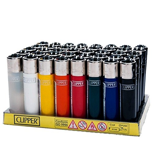 Clipper Lighter Tray of 48 Assorted Solid Colors Refillable with Removable Flint - Official Clipper Lighters