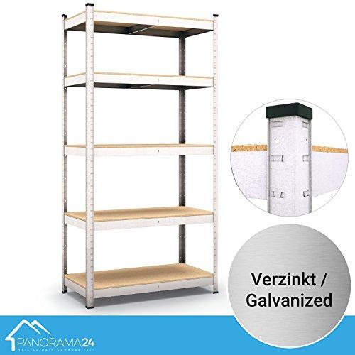 Panorama24 Lagerregal verzinkt belastbar bis 1000kg - Maße: 200 x 90 x 45 cm, Regal Kellerregal Steckregal Werkstattregal Schwerlastregal