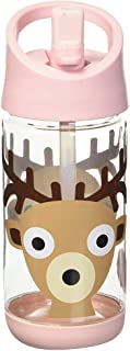 3 Sprouts Water Bottle - Kids Small Spill Proof 12oz. Plastic Spout Water Bottle, Pink, Deer