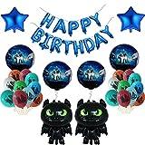 HNTHBZ Set de Globos Black sin Dientes de Aluminio Papelones Feliz Cumpleaños Banner Bebé Ducha Fiesta Decoración Niños Juguete Muchacho (Color : Set 2)