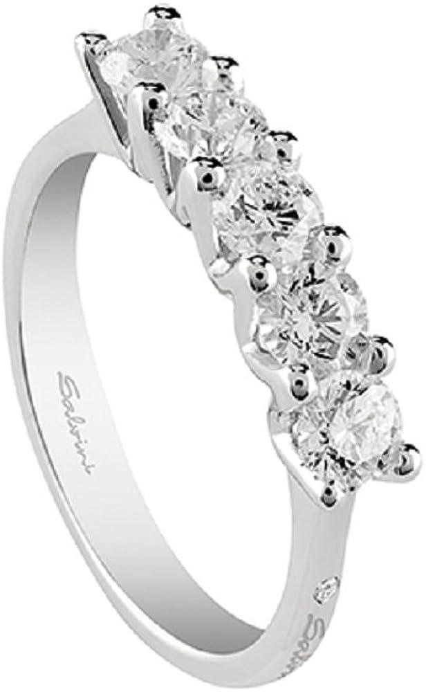Salvini, casa damiani, anello collezione virginia in oro bianco 18 kt e diamanti 0,45 ct 20068925