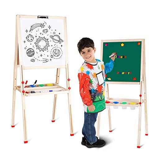 amzdeal Kindertafel, Magnet Staffelei für Kinder von 3 bis 8, Doppelseitige Standtafel, Höhenverstellbar von 80 bis 145 cm, Weiß/Schwarze Tafel mit Papier Rollen Halter, Holz