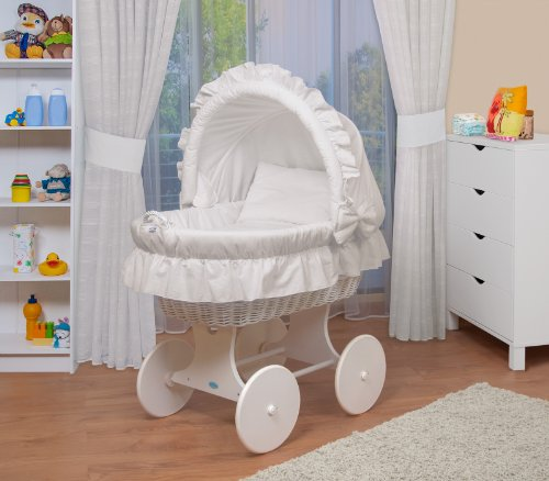 WALDIN Cuna Moisés, carretilla portabebés XXL, 6 modelos a elegir,Madera/ruedas lacado en blanco,color textil blanco