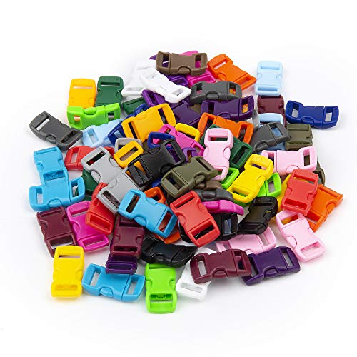 LEEUEE 100 Pack Side Release Plastic Buckles 3/8 Inch Double Adjustable Snap Clips for Paracord Bracelets Luggage Straps Pet Collar Backpack in Assorted Colors No Sewing Required