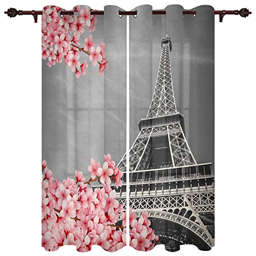 WTBDWOSH Curtains Blackout Sakura Eiffel Tower Landscape Insulated Curtains Eyelet Printed Curtains Pencil Pleat Polyester Microfibre Childrens Kitchen Living Room Bedroom 150X166 Cm (Wxh) X 2 Pcs