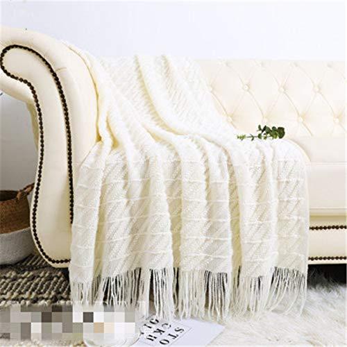 Fósforo estilo americano borla de punto manta de lana decorativa manta de sofá, utilizada para sofá/silla, manta de noche (solo manta incluida)