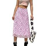 Yishengp Mujer Adolescente de Cintura Alta Midi Falda Bohemia Una Línea Larga Lápiz Falda Verano Y2k Bodycon Falda Streetwear