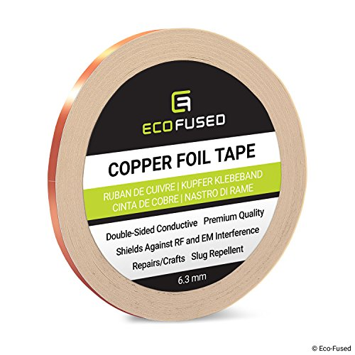 Premium selbstklebendes Kupferfolienband - Doppelseitig leitfähig - 0,25 Zoll (6,3 mm) - EMI- und HF-Abschirmung, Papierschaltungen, elektrische Reparaturen, Erdung, Home Interior, Schnecken abweisend