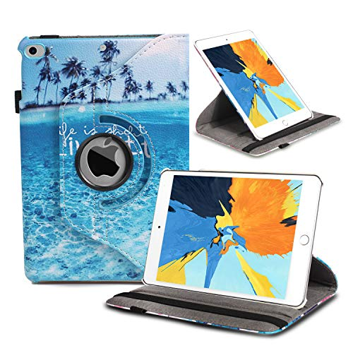 iPad Mini 1/2/3 Case 360 Degree Rotating Stand Case Cover with Auto Sleep/Wake Feature Smart PU Leather Cover for iPad Mini 3 case/ipad Mini 2 case/ipad Mini 1 case (Beach Live it)