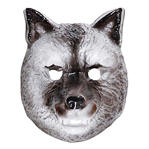 Amakando Masque pour Enfant Loup en Plastique Dur Conte de fées Visage Chien méchant fête d'enfants Accessoire déguisement Carnaval