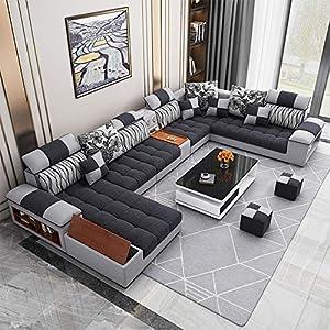 Winpavo Sofá Conjunto De Sofás Sofá De La Esquina Sofá Modular Juego De Sofás De Sala De Estar En Forma De U Sofá De Tela-Si