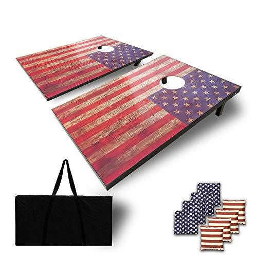 Haxton American Flag Cornhole Game – Size 3'x2'MDF Cornhole Boards/ Cornhole Sets,Includes Set of 8 Corn Hole Toss Bags