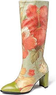 Hoge Laarzen Met Print, Knielaarzen Met Spitse Neus En Dikke Hakken Voor Dames, Dameslaarzen in Etnische Stijl,Green,41
