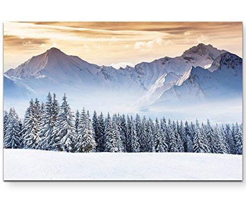 Paul Sinus Art Leinwandbilder | Bilder Leinwand 120x80cm Bergige Winterlandschaft