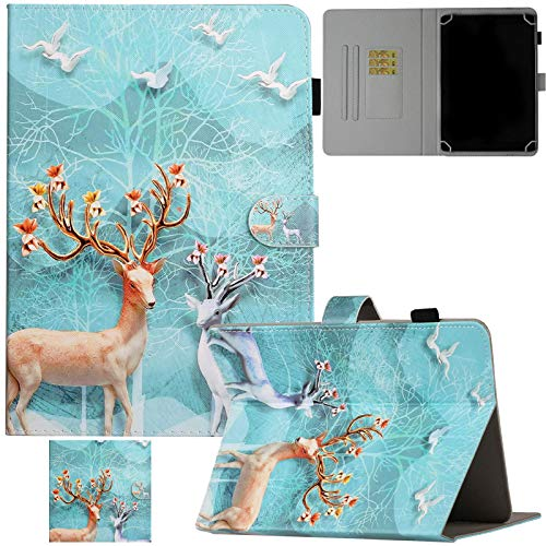 """Artyond Universal 10"""" Tablet Case, PU Leather Folio Stand Card Slot Case for 9.0-10.1"""" Tablet,Fire HD 10, iPad 6th/5th Gen, Galaxy Tab A 10.1/Tab E 9.6 and More 9.0-10.1 inch Tablet,Sika Deer"""