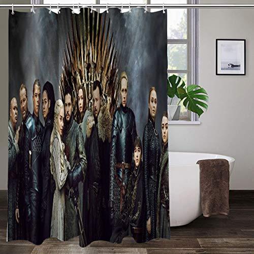 Juego de Tronos cortina de ducha para baño, resistente al agua, de secado rápido, tela de poliéster con 12 ganchos, 167,6 x 183,8 cm