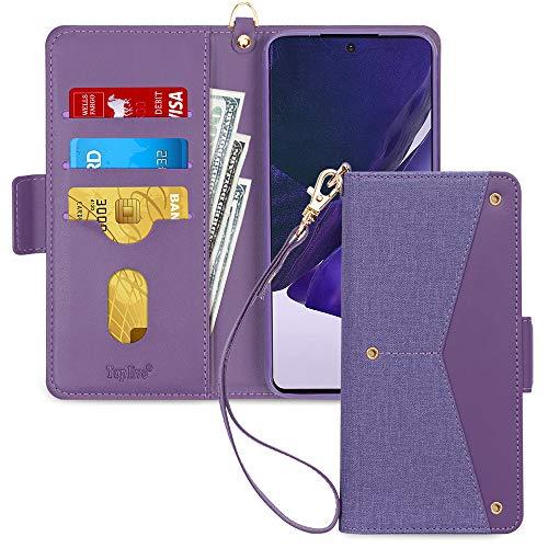 Toplive Samsung Galaxy Note 20 Ultra 5G Hülle, Galaxy Note 20 Ultra Handyhülle Tasche Brieftasche Flip Schutzhülle mit [Ständer] & [Kartenhalter] für Samsung Note 20 Ultra 5G Handytasche (2020)-Lila